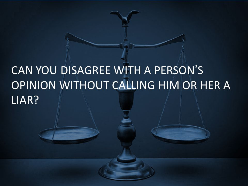 CAN YOU DISAGREE WITH A PERSON'S OPINION WITHOUT CALLING HIM OR HER A LIAR