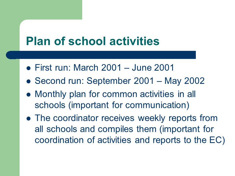 Plan of school activities First run: March 2001 – June 2001 Second run: September 2001 – May 2002 Monthly plan for common activities in all schools (important for communication) The coordinator receives weekly reports from all schools and compiles them (important for coordination of activities and reports to the EC)