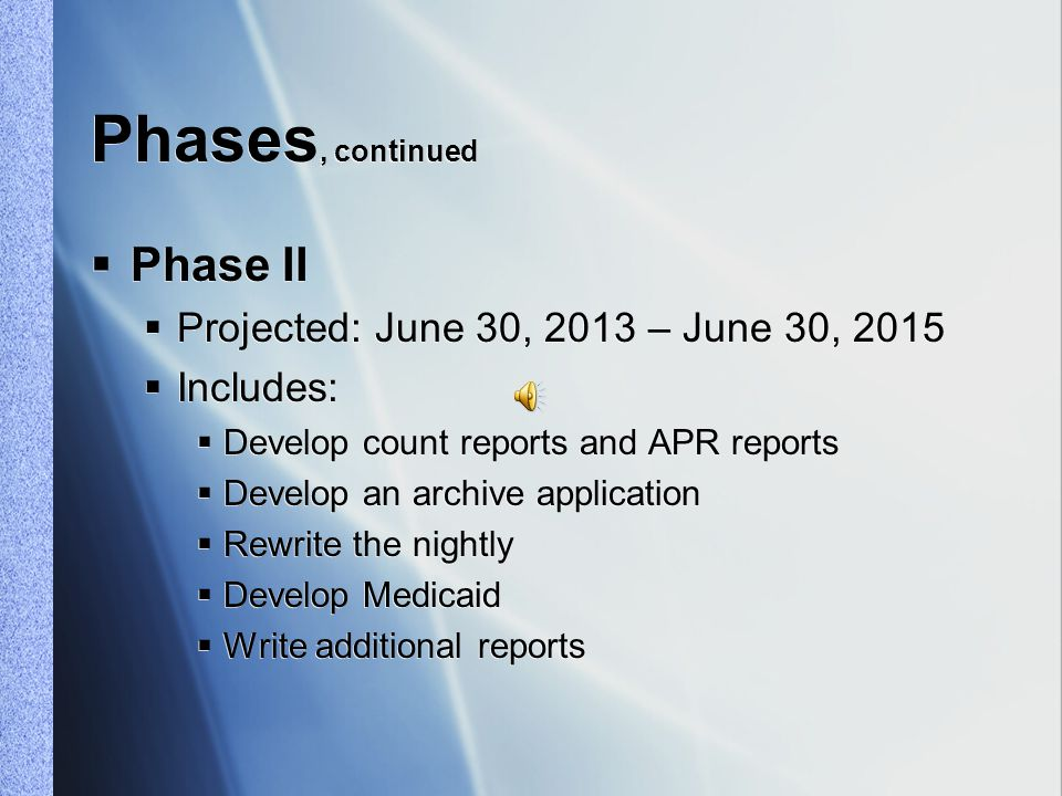 Phases  Phase I  Projected end date: June 30, 2013  Includes:  Rewrite IMS, IEP and IFSP  Develop Child Find  Implement load balancing  Test, test, test at Center  Test, test, test with consumers  Run a pilot test  Move code to live site  New apps in use on July 1, 2013  Phase I  Projected end date: June 30, 2013  Includes:  Rewrite IMS, IEP and IFSP  Develop Child Find  Implement load balancing  Test, test, test at Center  Test, test, test with consumers  Run a pilot test  Move code to live site  New apps in use on July 1, 2013