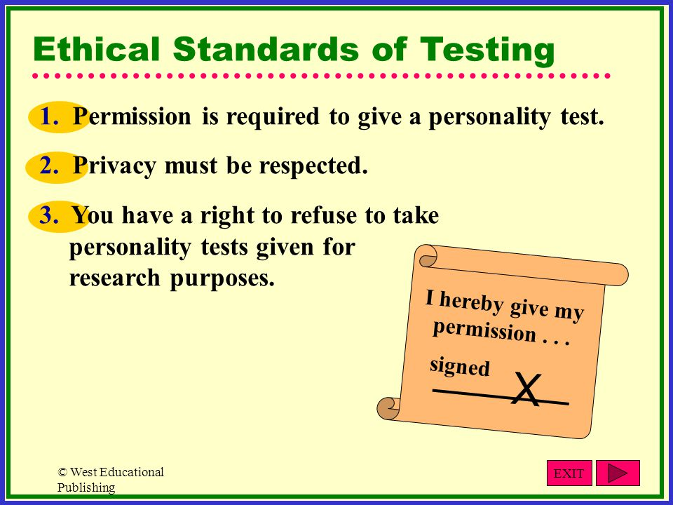 © West Educational Publishing Ethical Standards of Testing 1.