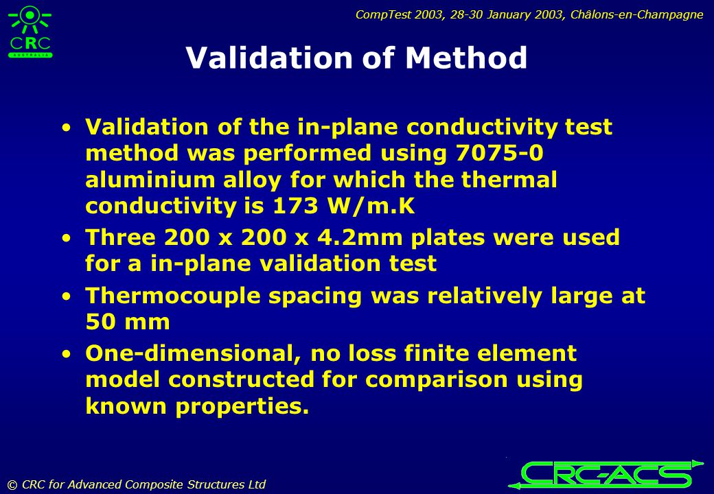 CompTest 2003, 28-30 January 2003, Châlons-en-Champagne © CRC for Advanced Composite Structures Ltd Validation of Method Validation of the in-plane conductivity test method was performed using 7075-0 aluminium alloy for which the thermal conductivity is 173 W/m.K Three 200 x 200 x 4.2mm plates were used for a in-plane validation test Thermocouple spacing was relatively large at 50 mm One-dimensional, no loss finite element model constructed for comparison using known properties.