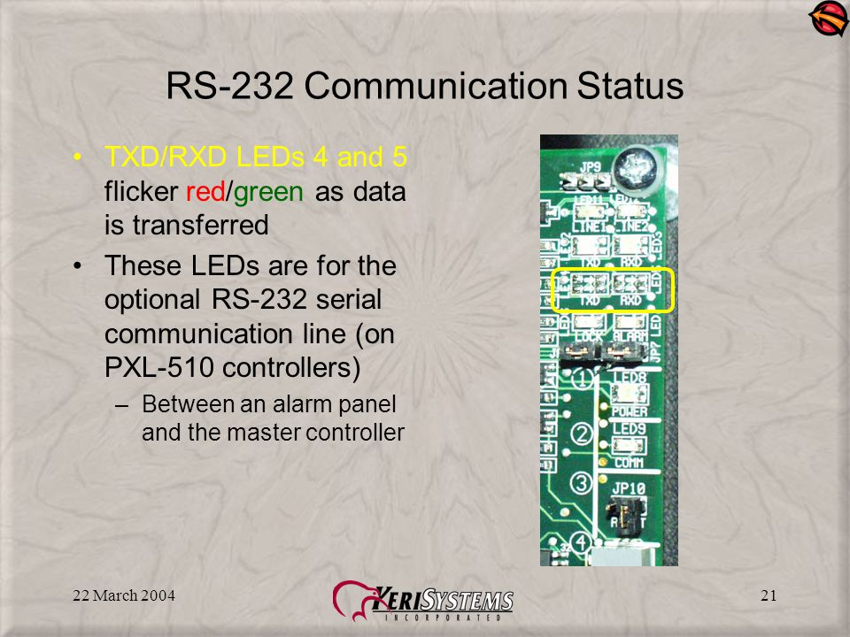 22 March 200421 RS-232 Communication Status TXD/RXD LEDs 4 and 5 flicker red/green as data is transferred These LEDs are for the optional RS-232 serial communication line (on PXL-510 controllers) –Between an alarm panel and the master controller