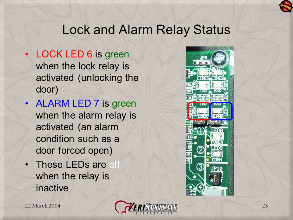 22 March 200423 Lock and Alarm Relay Status LOCK LED 6 is green when the lock relay is activated (unlocking the door) ALARM LED 7 is green when the alarm relay is activated (an alarm condition such as a door forced open) These LEDs are off when the relay is inactive