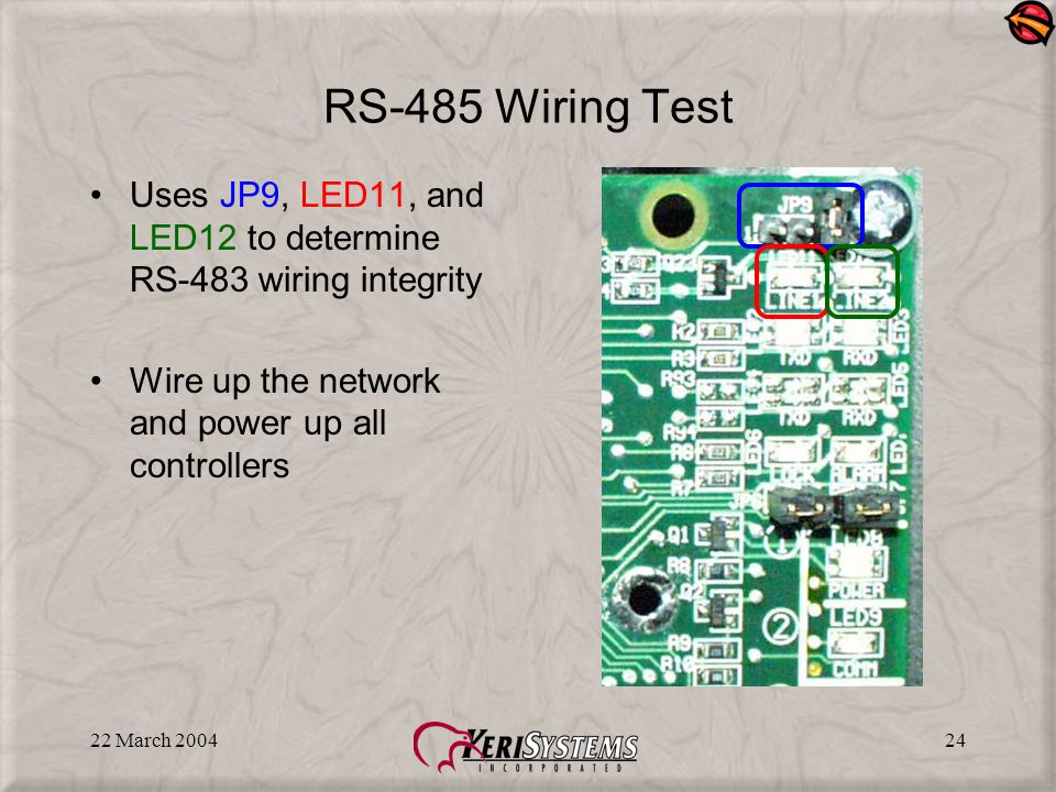 22 March 200424 RS-485 Wiring Test Uses JP9, LED11, and LED12 to determine RS-483 wiring integrity Wire up the network and power up all controllers