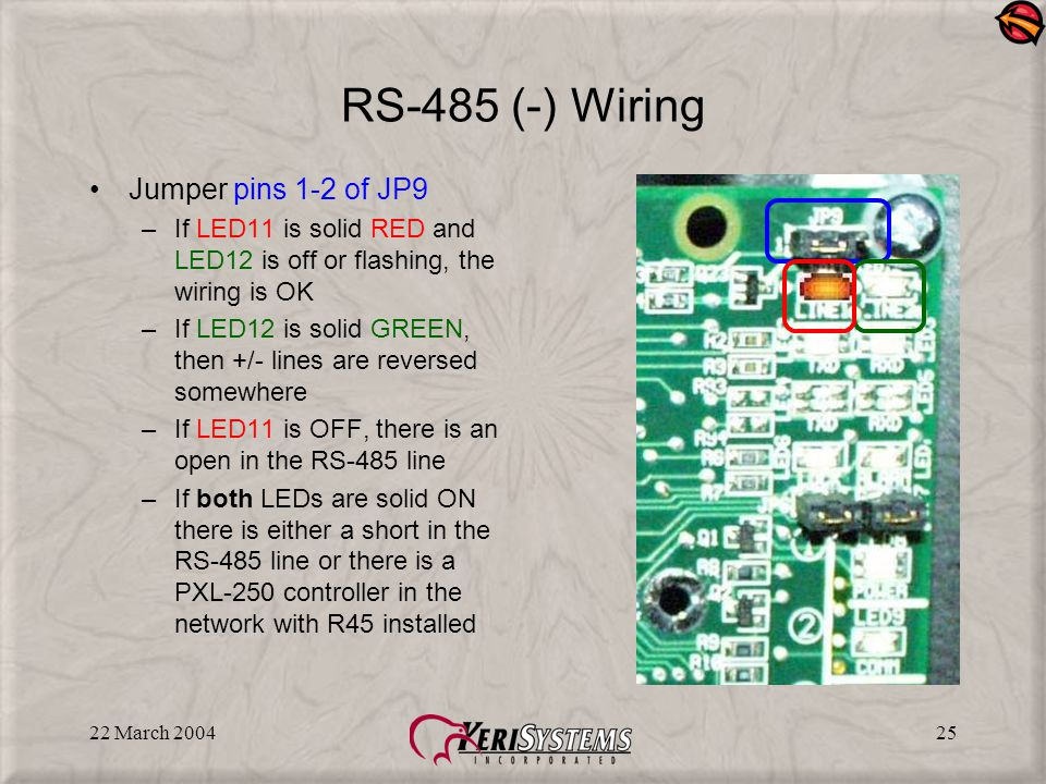 22 March 200425 RS-485 (-) Wiring Jumper pins 1-2 of JP9 –If LED11 is solid RED and LED12 is off or flashing, the wiring is OK –If LED12 is solid GREEN, then +/- lines are reversed somewhere –If LED11 is OFF, there is an open in the RS-485 line –If both LEDs are solid ON there is either a short in the RS-485 line or there is a PXL-250 controller in the network with R45 installed