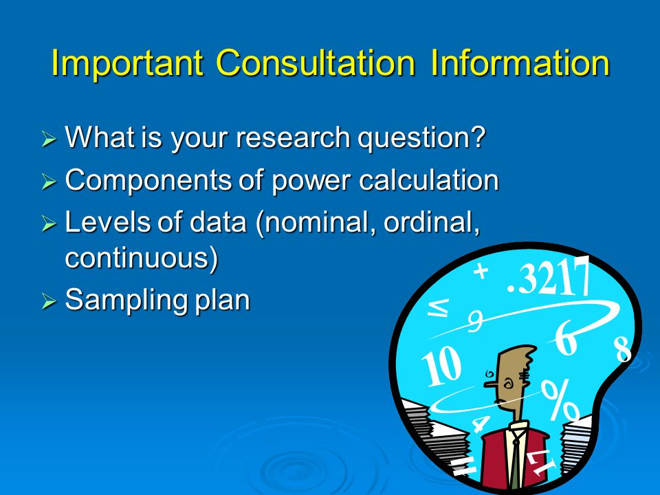 Components Involved in Power Calculation  Sample Size- What we want to find out.