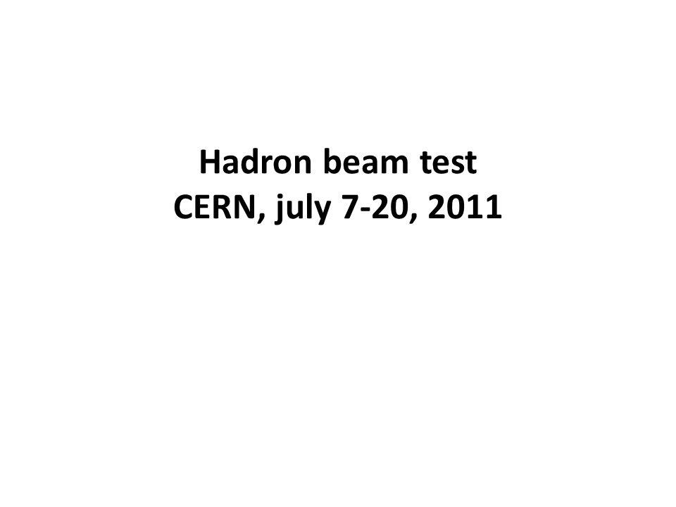 Hadron beam test CERN, july 7-20, 2011