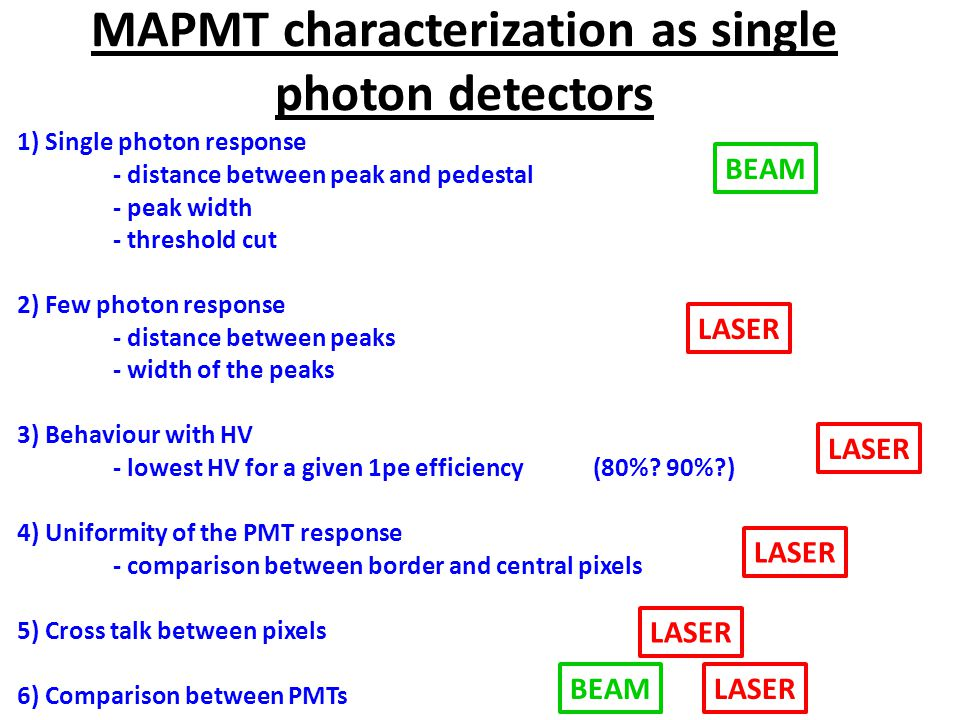 MAPMT characterization as single photon detectors 1) Single photon response - distance between peak and pedestal - peak width - threshold cut 2) Few photon response - distance between peaks - width of the peaks 3) Behaviour with HV - lowest HV for a given 1pe efficiency (80%.