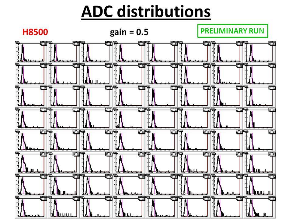 ADC distributions H8500 gain = 0.5 PRELIMINARY RUN