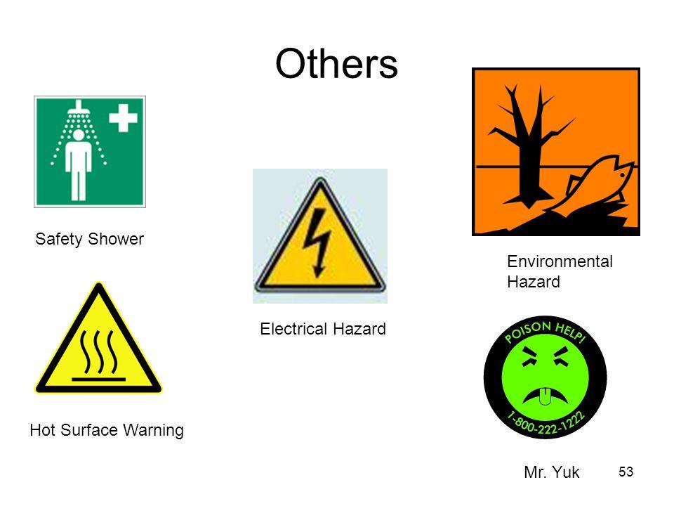 53 Others Safety Shower Environmental Hazard Hot Surface Warning Electrical Hazard Mr. Yuk