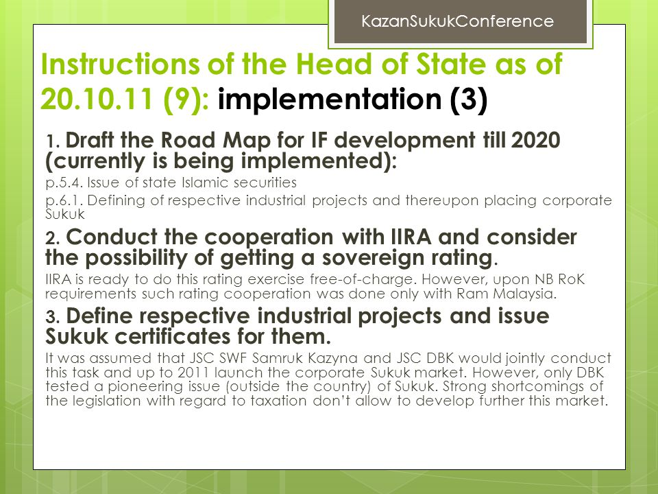 Instructions of the Head of State as of 20.10.11 (9): implementation (3) 1.