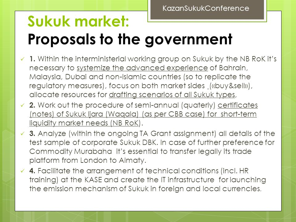 Sukuk market: Proposals to the government 1.