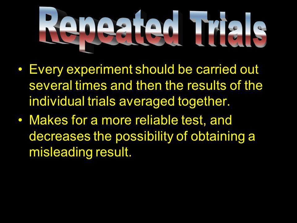 Every experiment should be carried out several times and then the results of the individual trials averaged together.