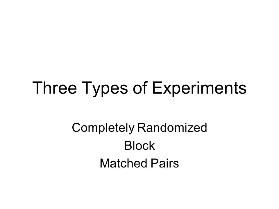 Three Types of Experiments Completely Randomized Block Matched Pairs
