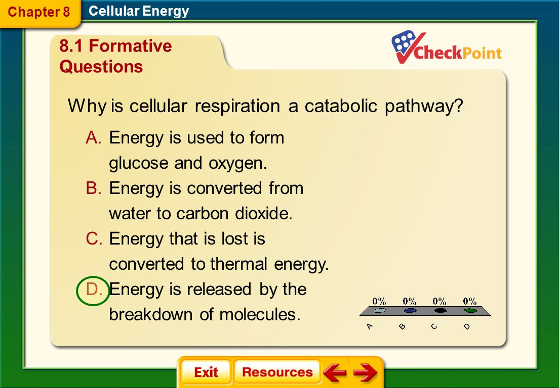 1.A 2.B FQ 2 Cellular Energy Chapter 8 8.1 Formative Questions All of the energy from the food you eat comes from the sun.