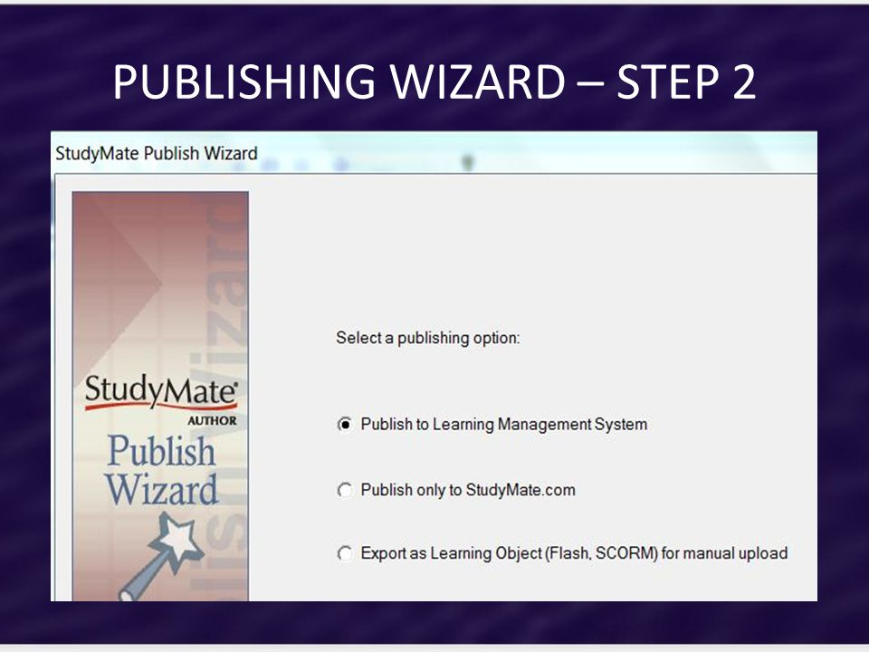 PUBLISHING WIZARD – STEP 2