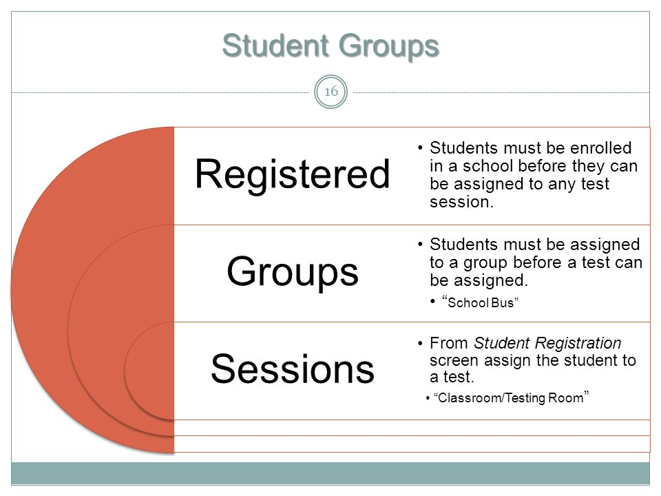 Student Groups Registered Groups Sessions Students must be enrolled in a school before they can be assigned to any test session.