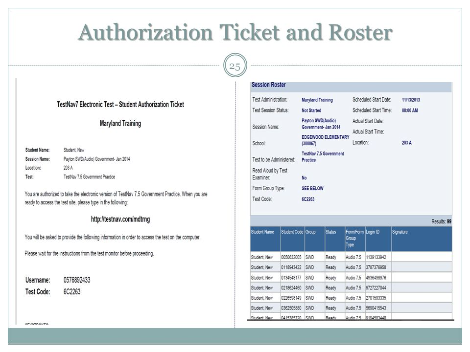 Authorization Ticket and Roster 25