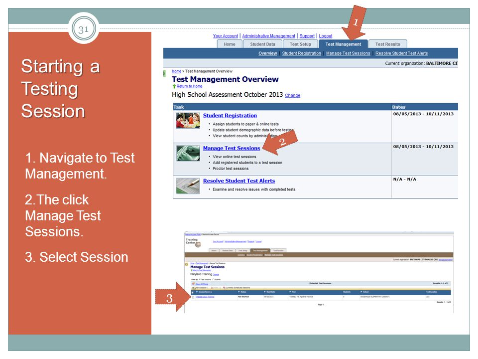 Starting a Testing Session 1. Navigate to Test Management.