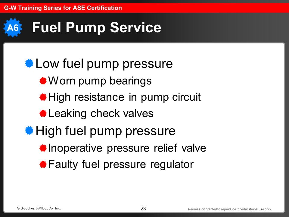 Permission granted to reproduce for educational use only. 23 © Goodheart-Willcox Co., Inc. Fuel Pump Service Low fuel pump pressure Worn pump bearings