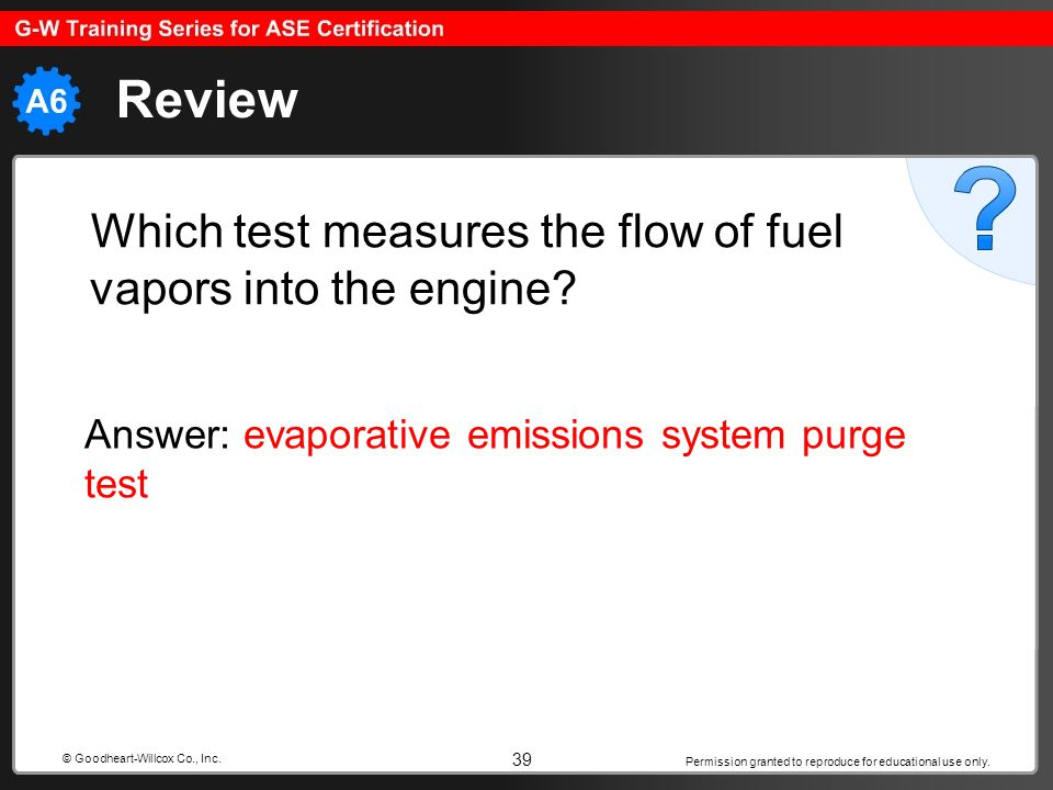 Permission granted to reproduce for educational use only. 39 © Goodheart-Willcox Co., Inc. Review Which test measures the flow of fuel vapors into the