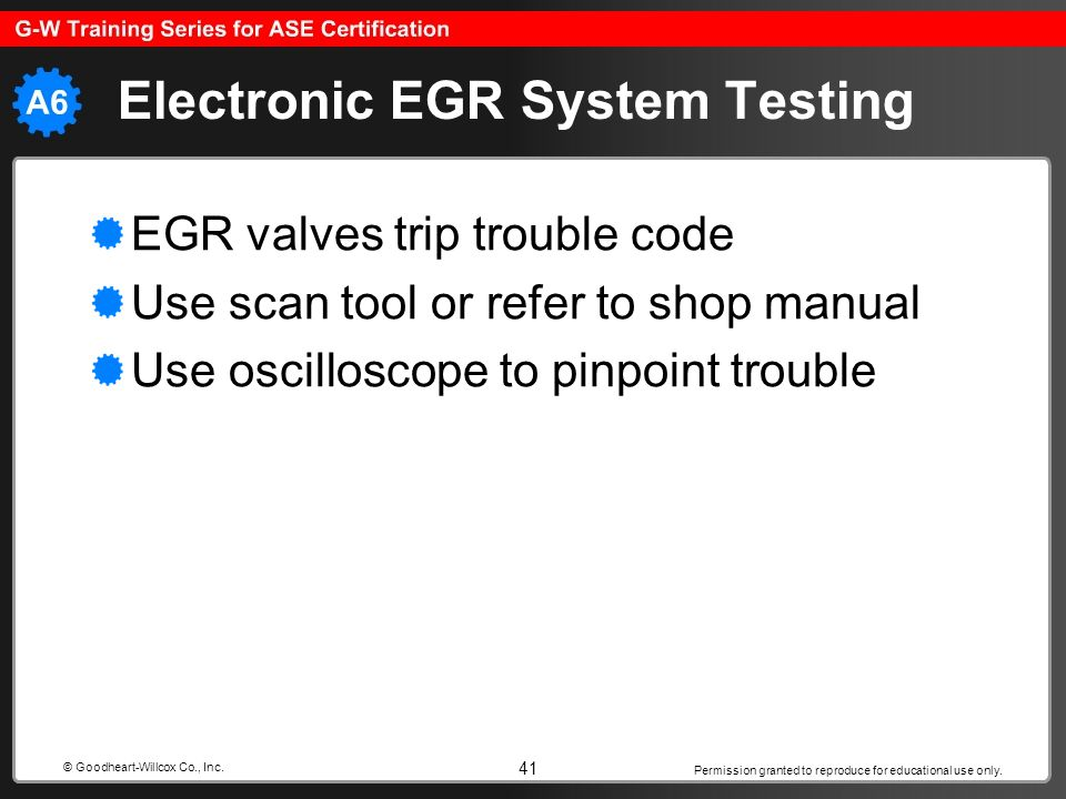 Permission granted to reproduce for educational use only. 41 © Goodheart-Willcox Co., Inc. Electronic EGR System Testing EGR valves trip trouble code