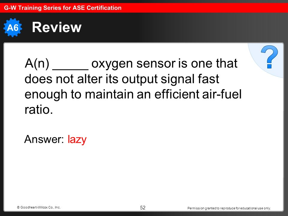 Permission granted to reproduce for educational use only. 52 © Goodheart-Willcox Co., Inc. Review A(n) _____ oxygen sensor is one that does not alter