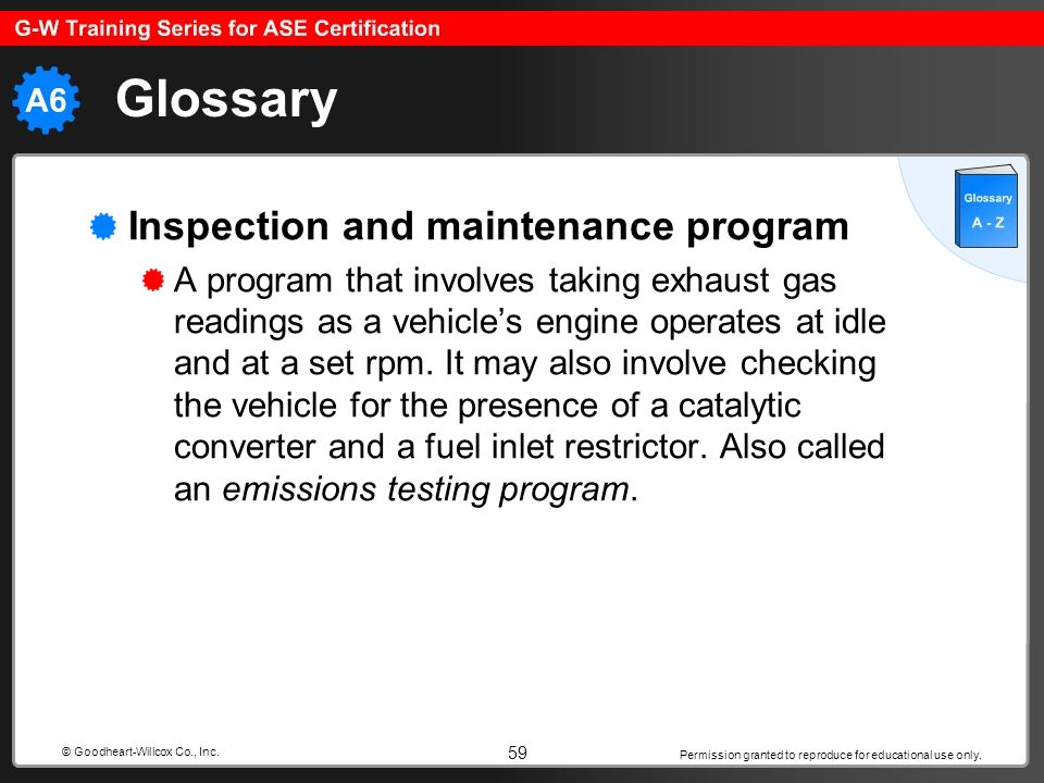 Permission granted to reproduce for educational use only. 59 © Goodheart-Willcox Co., Inc. Glossary Inspection and maintenance program A program that