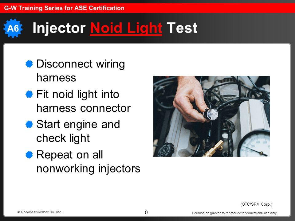 Permission granted to reproduce for educational use only. 9 © Goodheart-Willcox Co., Inc. Injector Noid Light TestNoid Light Disconnect wiring harness