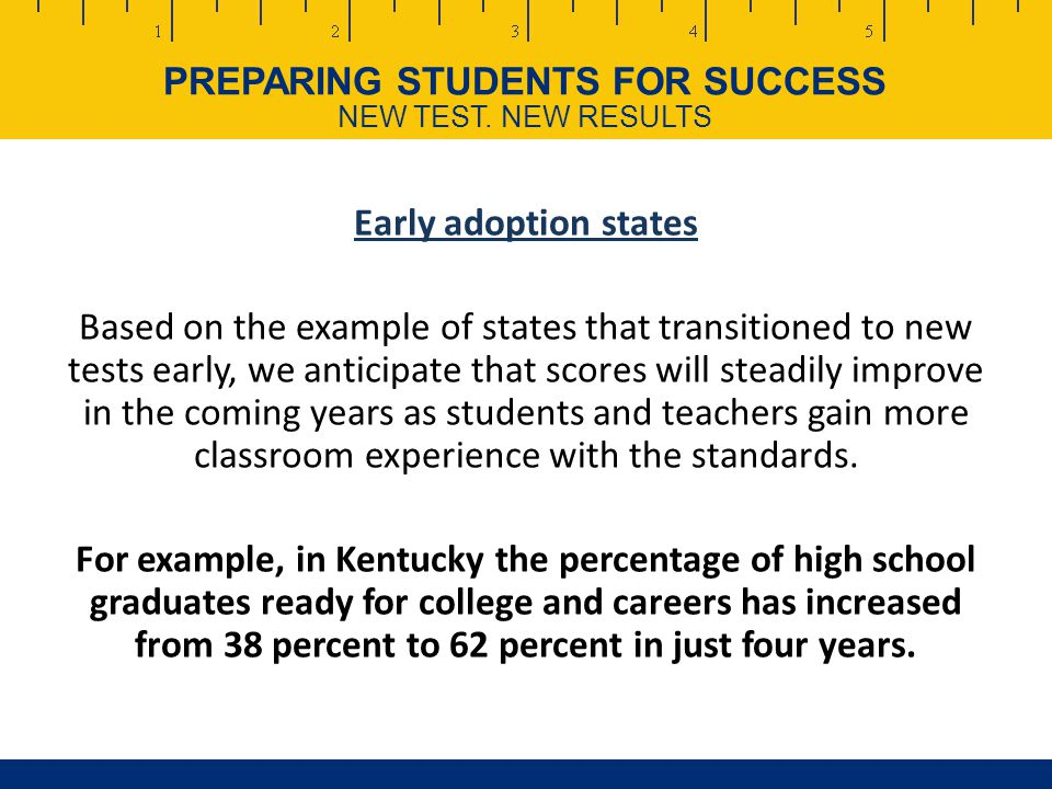 PREPARING STUDENTS FOR SUCCESS NEW TEST.