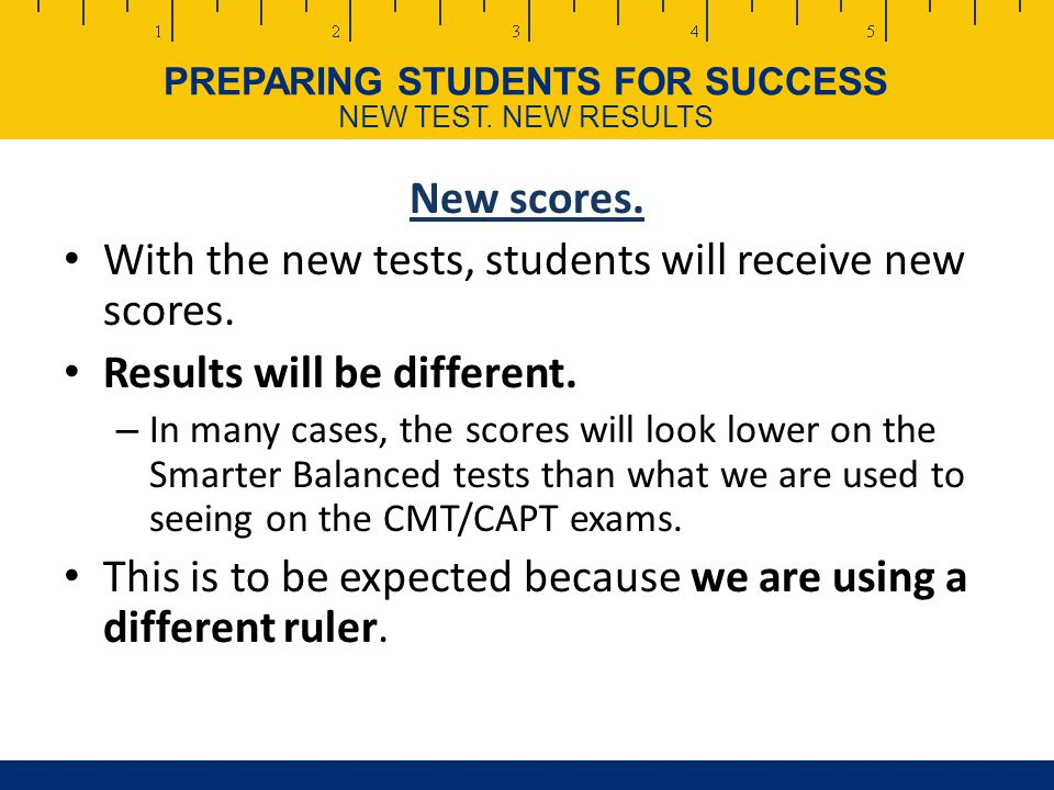 PREPARING STUDENTS FOR SUCCESS NEW TEST.NEW RESULTS New scores.