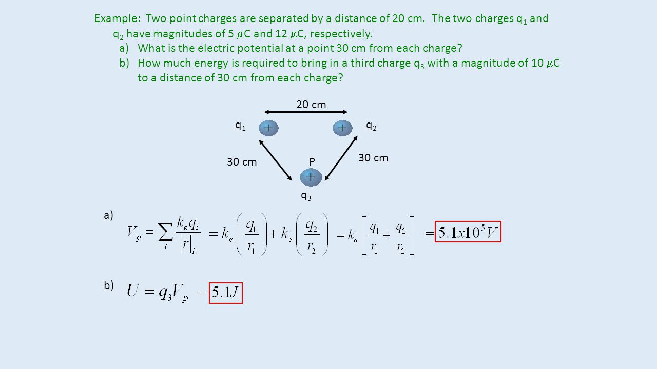 Example: Two point charges are separated by a distance of 20 cm.