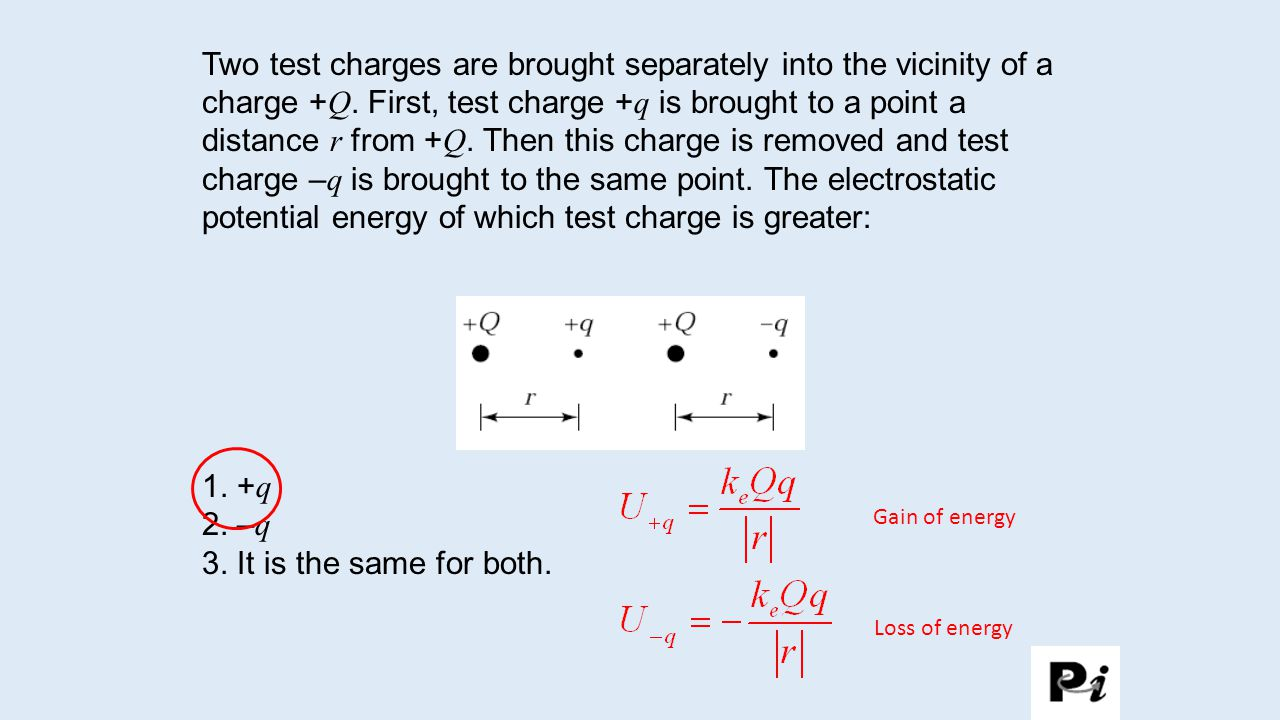 Two test charges are brought separately into the vicinity of a charge + Q.
