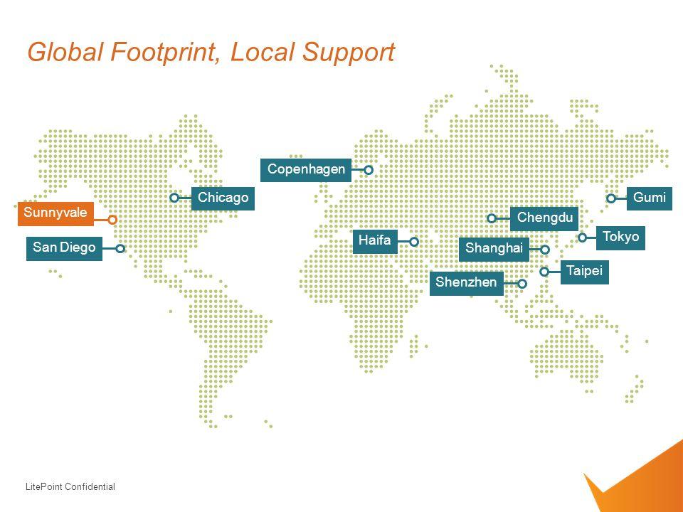LitePoint Confidential Tokyo Shenzhen Taipei Shanghai Chicago San Diego Sunnyvale Haifa Copenhagen Global Footprint, Local Support Chengdu Gumi