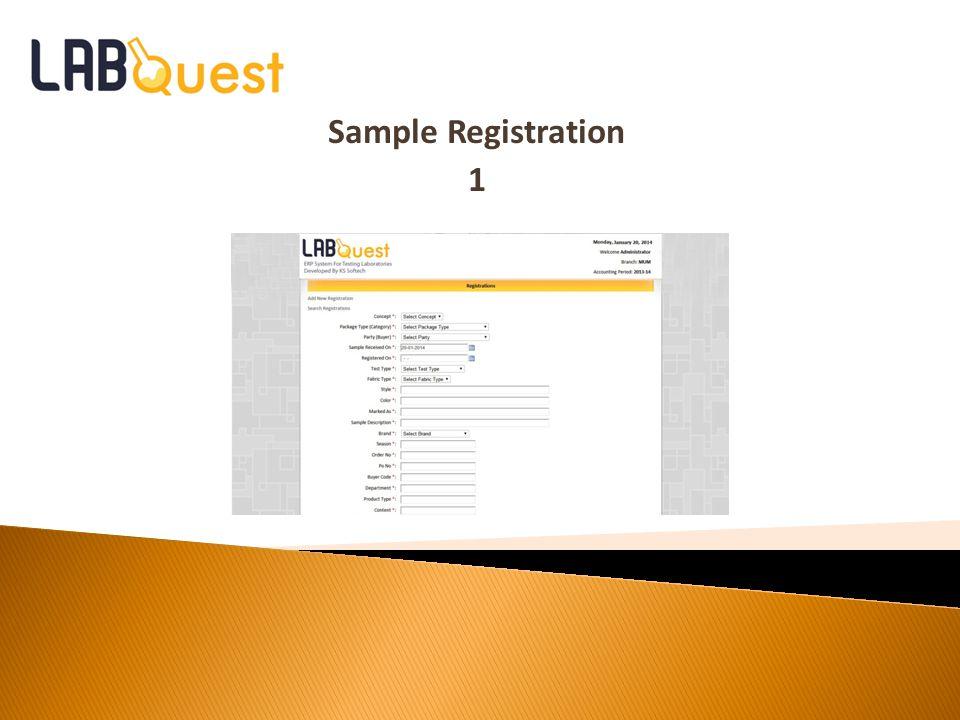 Sample Registration 1