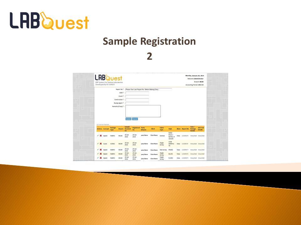 Sample Registration 2