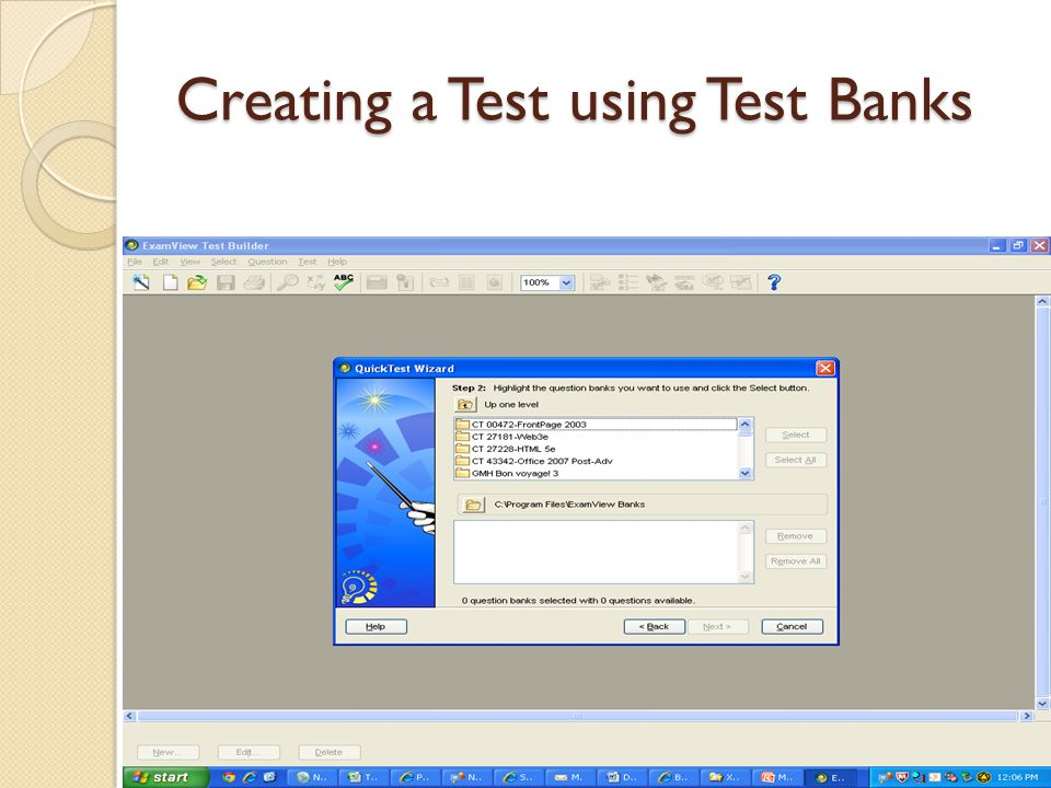 Creating a Test using Test Banks
