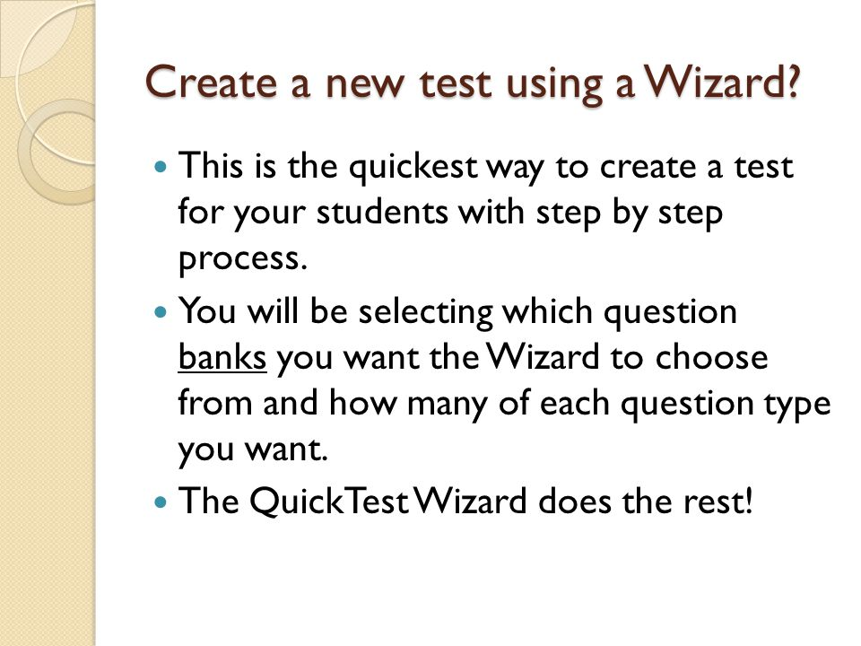Create a new test using a Wizard.