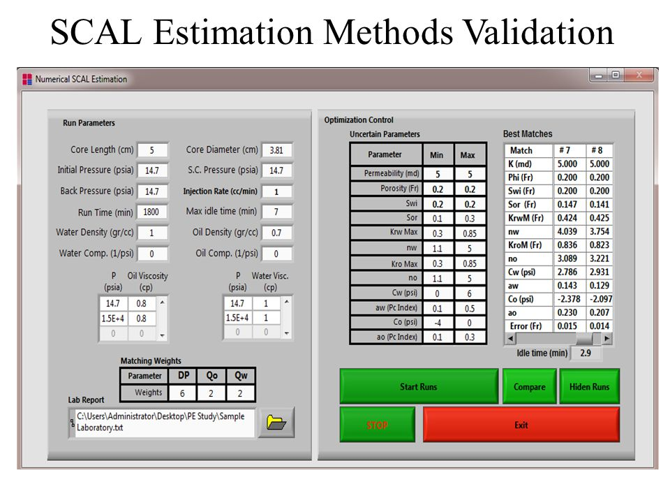 SCAL Estimation Methods Validation In this section, the PE Relperm ability to history match laboratory data and to obtain the unknown SCAL properties
