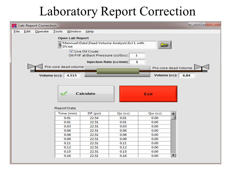 Laboratory Report Correction In the Lab Report Correction Section the laboratory data (which inevitably have volumetric errors since pre-core and afte