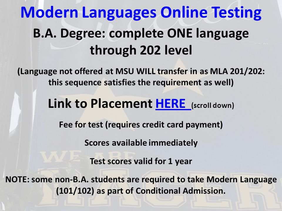 Modern Languages Online Testing B.A.