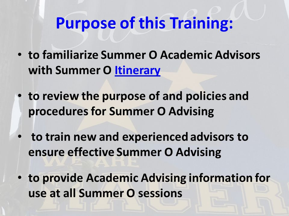 Summer O Academic Advisors are important in making sure that each advisee will be a Racer this August.