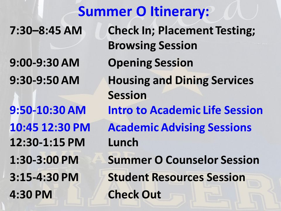 Academic Life Session Content: Provost's Welcome University Studies Requirements Area, Major, Minor RACR Degree Audit The Role of the Academic Advisor Dual Credit/AP Courses and Advising/SchedulingAPAdvisingScheduling Summer O Advising Logistics Consent to Release Consent to Release Form The Academic Life session should help to prepare students and families for advising and scheduling during the Academic Advising sessions that follow immediately afterward.