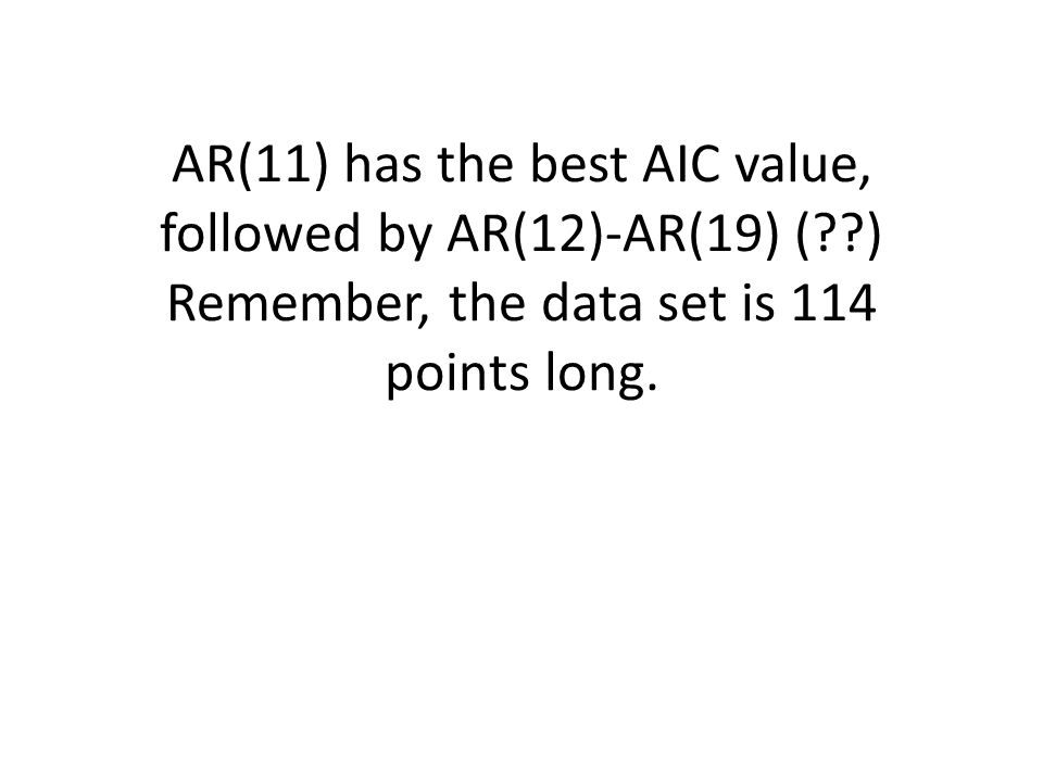 AR(11) has the best AIC value, followed by AR(12)-AR(19) ( ) Remember, the data set is 114 points long.
