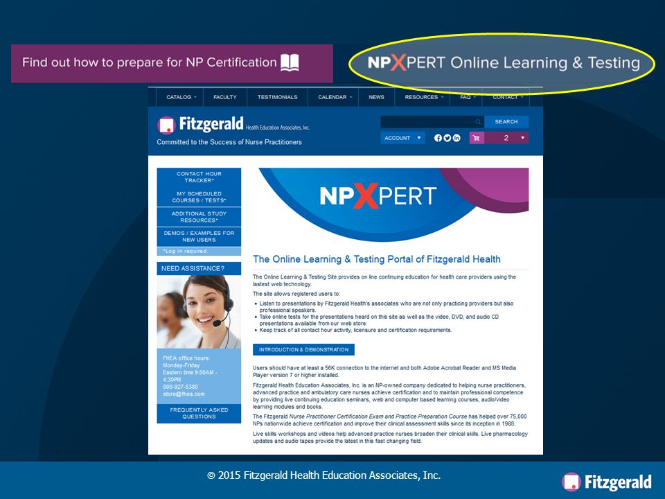 FITZGERALD'S LEARNING PORTAL NP PERT X  2015 Fitzgerald Health Education Associates, Inc.