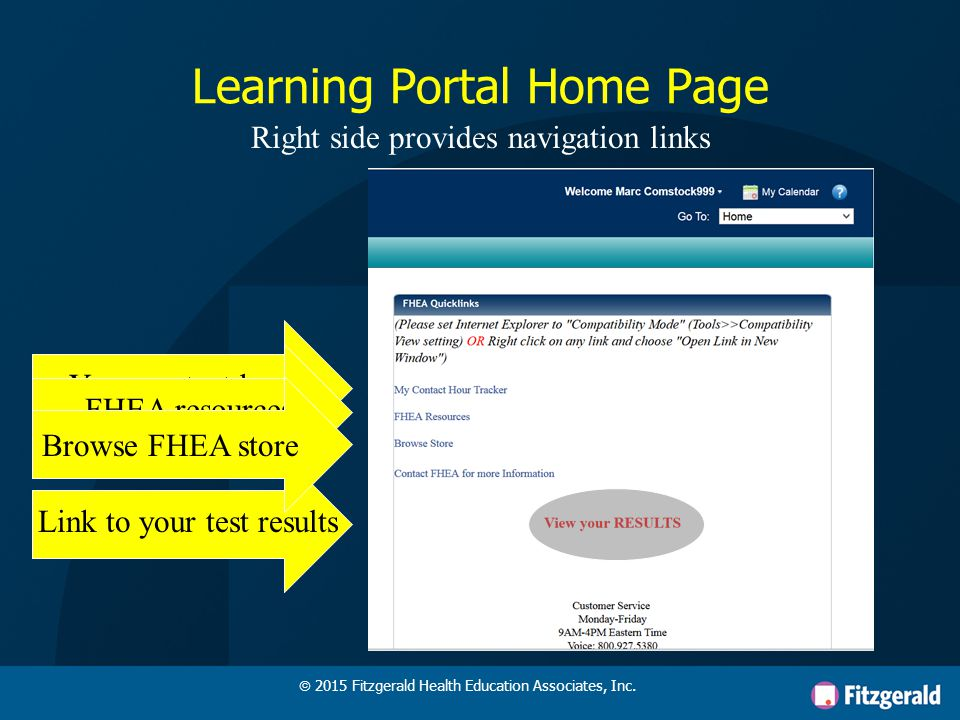 Learning Portal Home Page Left side shows your enrolled learning activities & status  2015 Fitzgerald Health Education Associates, Inc.