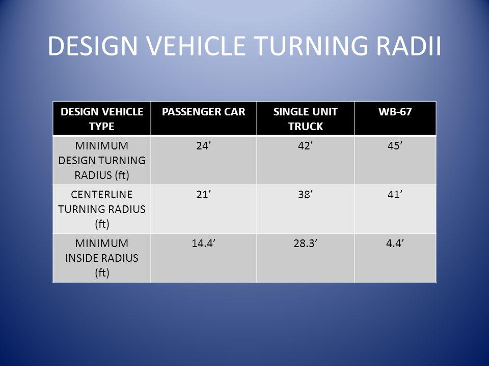 DESIGN VEHICLE TURNING RADII DESIGN VEHICLE TYPE PASSENGER CARSINGLE UNIT TRUCK WB-67 MINIMUM DESIGN TURNING RADIUS (ft) 24'42'45' CENTERLINE TURNING RADIUS (ft) 21'38'41' MINIMUM INSIDE RADIUS (ft) 14.4'28.3'4.4'