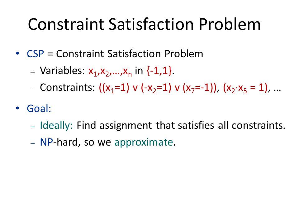 Constraint Satisfaction Problem CSP = Constraint Satisfaction Problem – Variables: x 1,x 2,…,x n in {-1,1}. – Constraints: ((x 1 =1) v (-x 2 =1) v (x