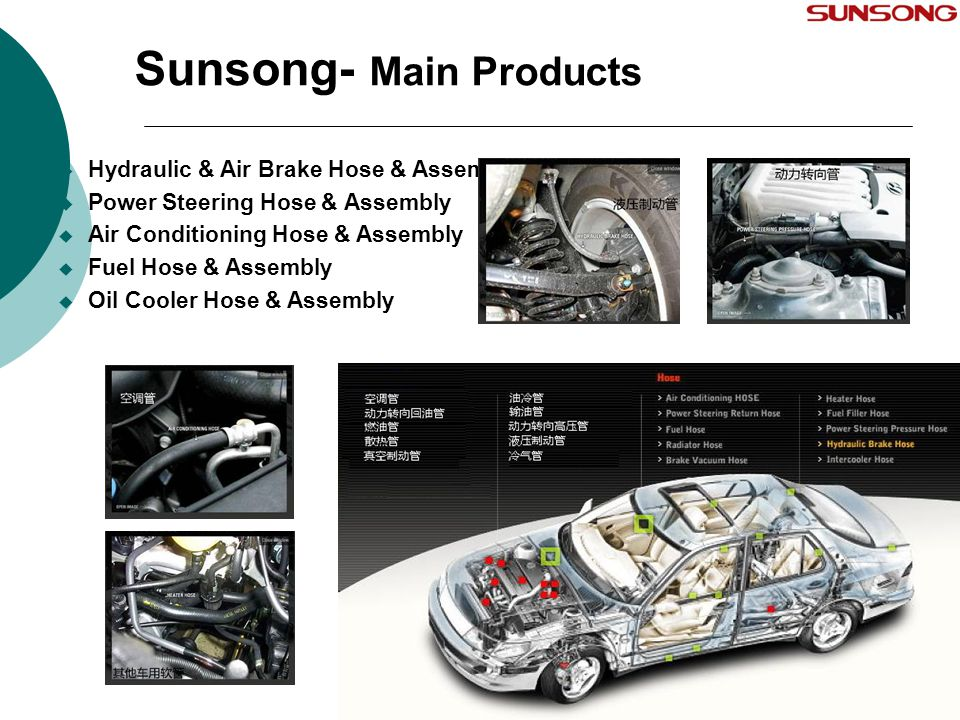 Sunsong- Main Products 18  Hydraulic & Air Brake Hose & Assembly  Power Steering Hose & Assembly  Air Conditioning Hose & Assembly  Fuel Hose & As
