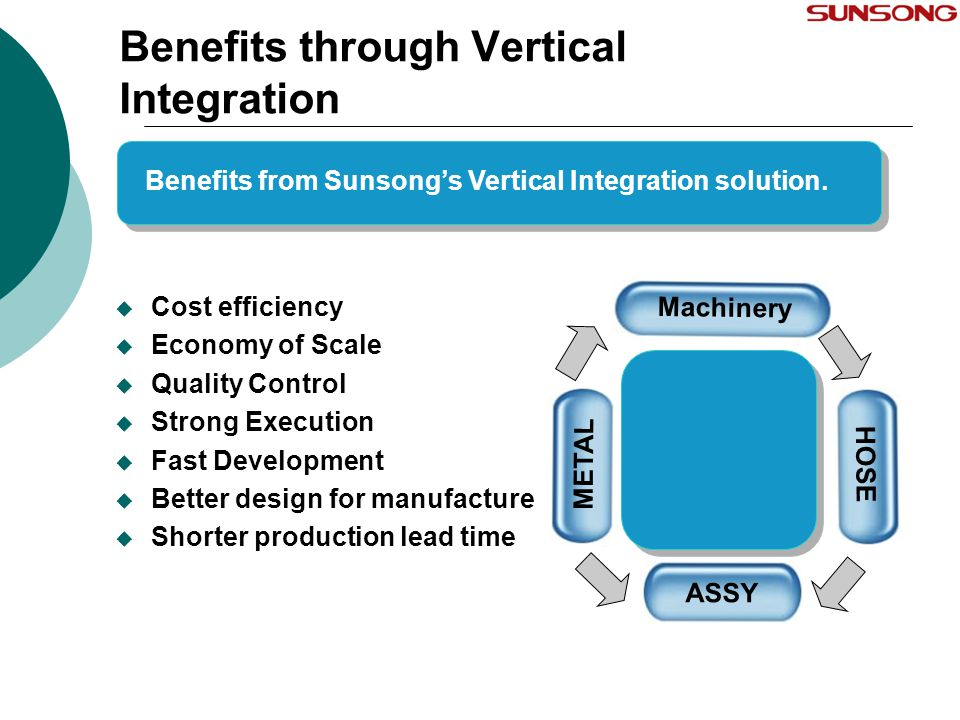 Benefits through Vertical Integration  Cost efficiency  Economy of Scale  Quality Control  Strong Execution  Fast Development  Better design for